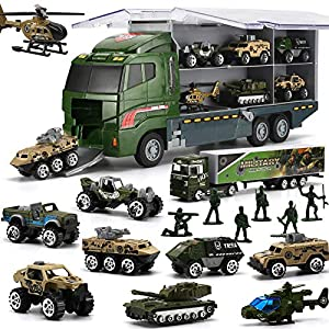 Best Epic Trends 61ZZwlvSY7L._SS300_ 26 Pcs Military Truck with Soldier Men Set(2 in 1), Mini Die-cast Battle Car in Carrier Truck, Army Toy Double Side…