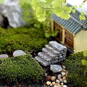 2pcs stone step D Whiie891203 Miniature Fairy Garden 2//4Pcs Resin Horse Turtle Windmill Miniature Dollhouse Ornament Garden Decor