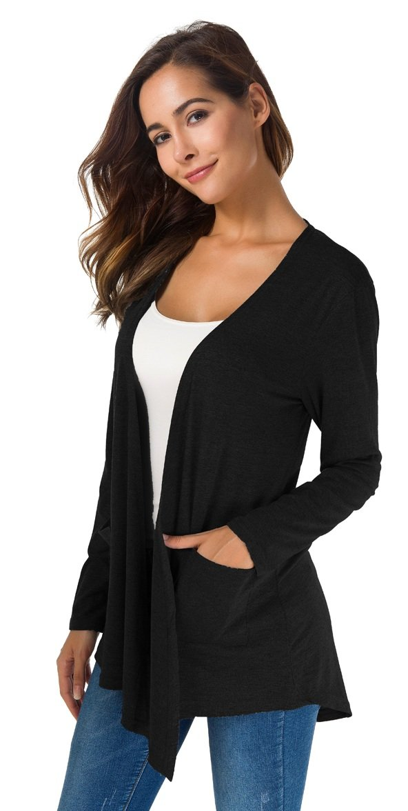 TownCat Women's Loose Casual Long Sleeved Open Front Breathable Cardigans with Pocket (Black, M) by TownCat (Image #3)