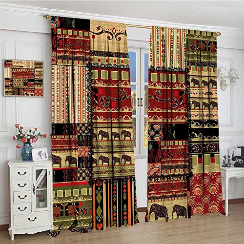 - youpinnong African Widened Blackout Window Curtain Patchwork Style Asian Pattern with Elephants and Cultural Ancient Motifs Print Waterproof Window Curtain 120