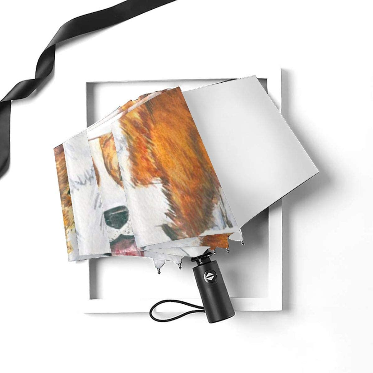 NA The Smiling Puppy Automatic Tri-fold Umbrella Outer Print One Size