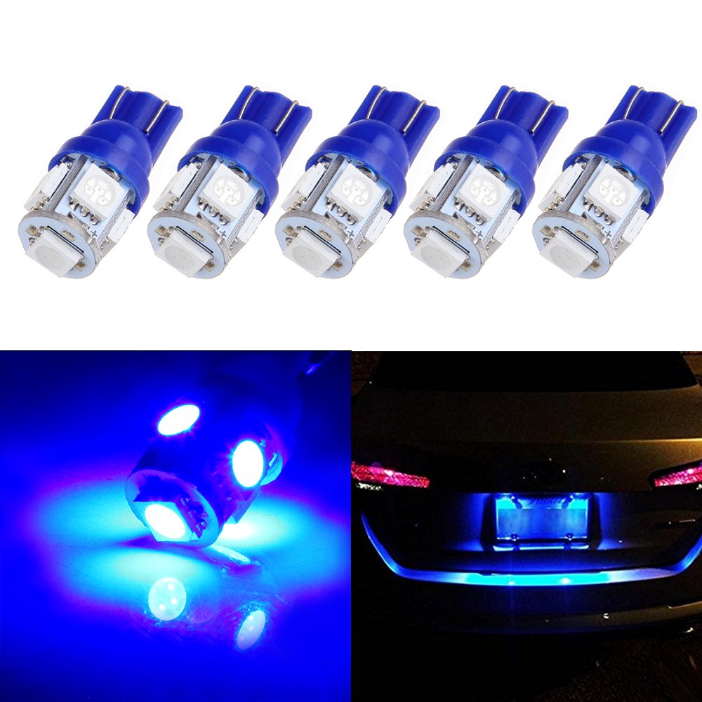 cciyu 194 Extremely Bright LED Bulbs T10-5-5050-SMD Light Lamp License Plate Light Lamp Wedge T10 168 2825 W5W Blue Pack of 5