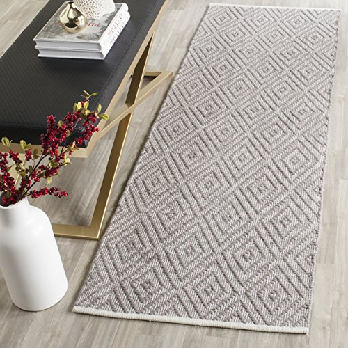 Pattern Woven Rug - Safavieh Montauk Collection MTK811A Handmade Flatweave Grey and Ivory Cotton Runner (2'3