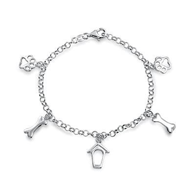 0c648a22c84 Amazon.com  BFF Pet Lover Cat Puppy Kitten Dog House Bone Paw Print Charm  Bracelet For Women For Teen 925 Sterling Silver  Jewelry