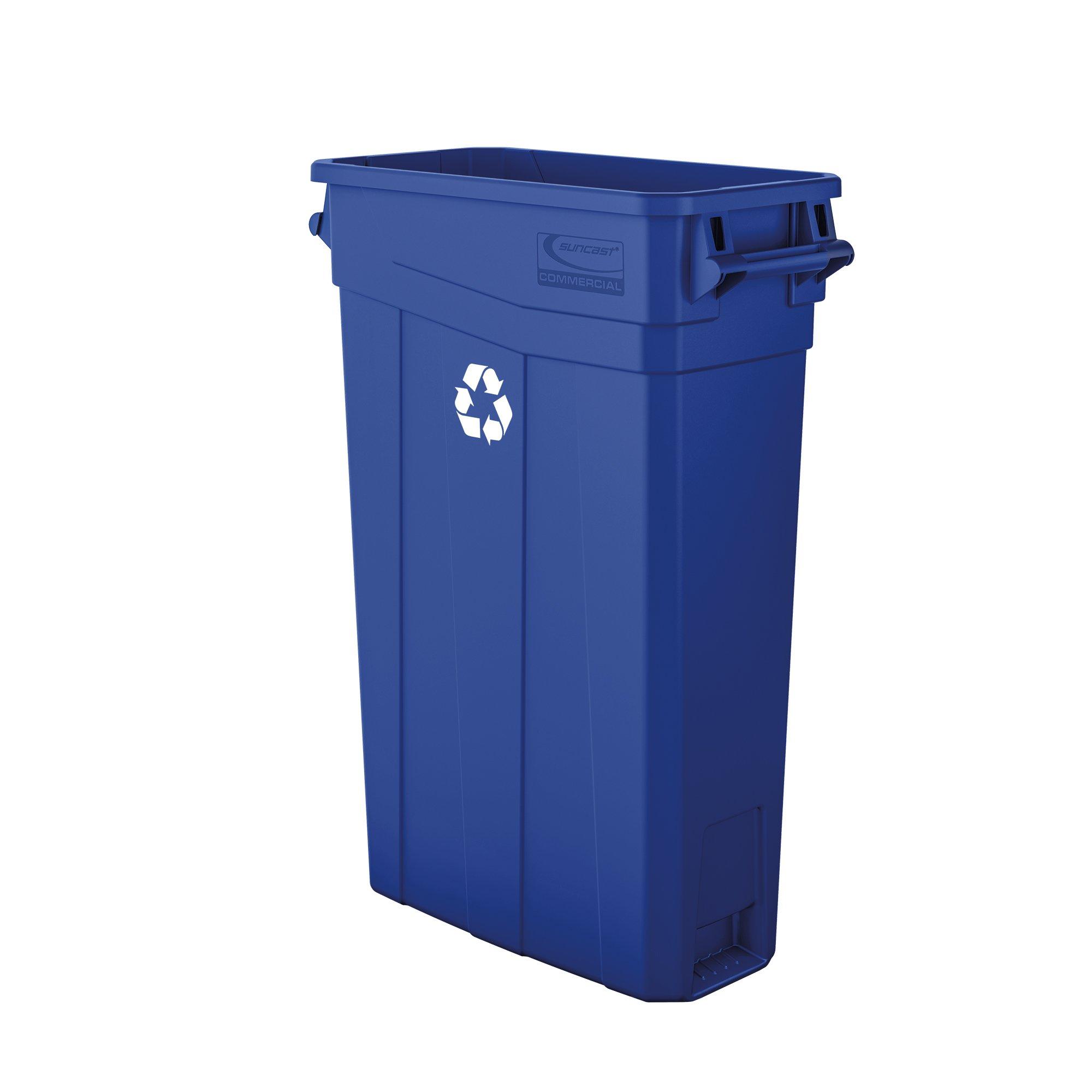 Suncast Commercial TCNH2030BLR Slim Trash Can, Recycle Logo, Polypropylene, Blue