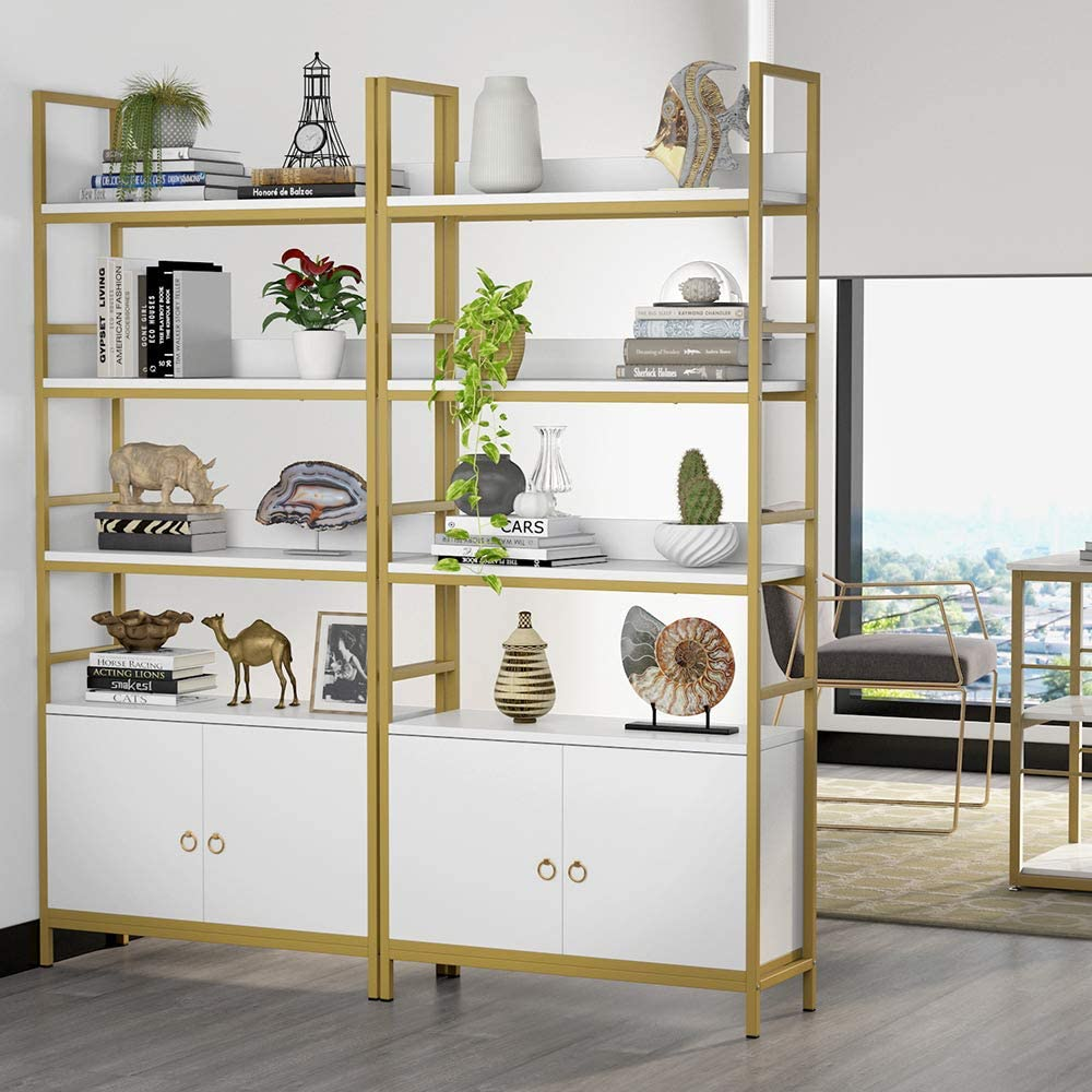 Tribesigns 4-Tier White Etagere Standard Gold Bookcase ...