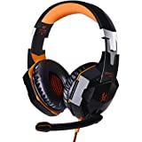 EasySMX Upgrade Version Gaming Headset Comfortable LED 3.5mm Stereo Gaming LED Lighting Over-Ear Headphone Headset Headband with Mic for PC Computer Game With Noise Cancelling & Volume Control Not for Xbox (Orange)