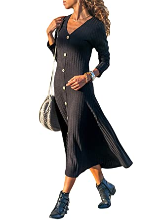 42392abb60c Lovezesent Womens Sexy V Neck Button Down Long Dress Autumn Long Sleeve  Knitted Maxi Dress Black