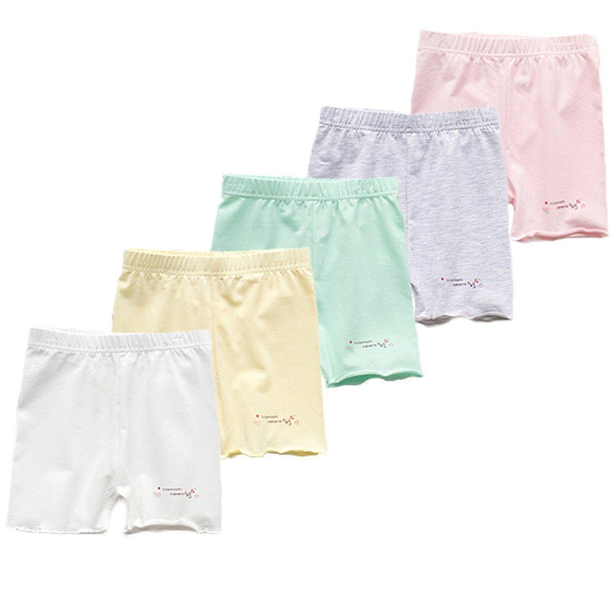 JELEUON 5Pcs Little Girls Kids Candy Color Gymnastics Slim Elastic Safety Bike Short Panties 7-8Y
