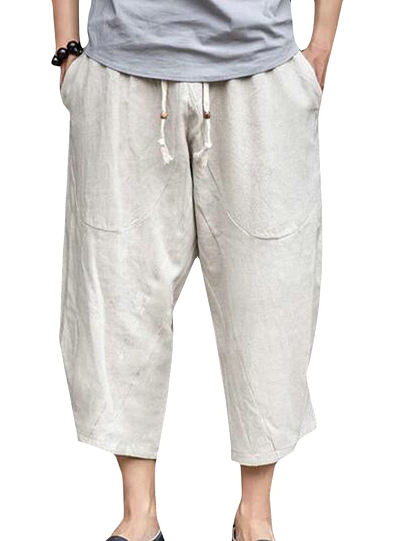 KLJR-Men Casual Capri Linen Jogger Sport Loose Pocket Pants