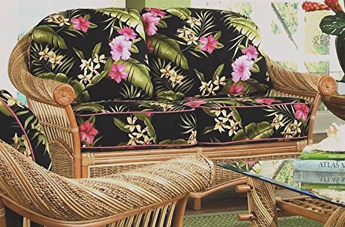 Love Seat with Cushions (Solar Kiwi (All Weather)) by Spice Island Wicker