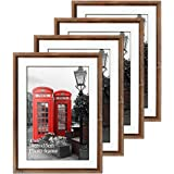 Edenseelake 4x6 Picture Frames Set 4pcs Rustic Brown Frame with Glass Front for Tabletop or Wall Decoration