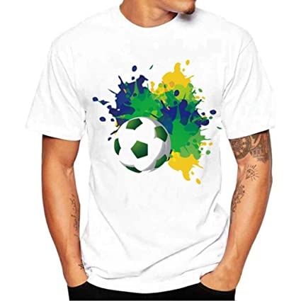 LuckyGirls Camisetas Hombre Manga Corta Originales 3D Estampado de Fútbol Verano Moda Blanco Polos Personalidad Casual