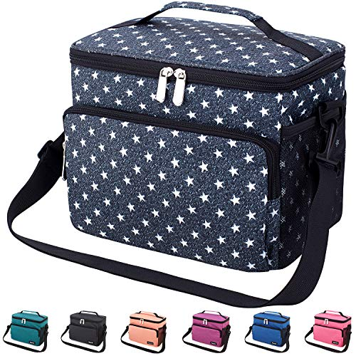 Leakproof Reusable Insulated Cooler Lunch Bag - Office Work School Picnic Hiking Beach Lunch Box Organizer with Adjustable Shoulder Strap for Women,Men and Kids-Gray Pentagram