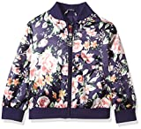 Pink Platinum Toddler Girls' Floral Satin Bomber, Navy, 4T