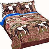 Country Living Pinto Paint Show Horses & Ponies Out to Pasture Brown Comforter Set w/Sheets (6pc Twin Size)