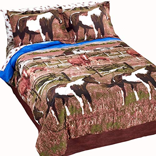 Country Living Pinto Paint Show Horses & Ponies Out to Pasture Brown Comforter Set w/Sheets (8pc King Size)
