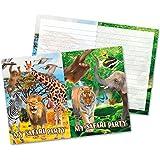 16-teiliges einladungs-set Safari et pour les fêtes d'anniversaire et animaux sauvages de Folat 62010Kid Set de cartons d'invitation d'anniversaire pour invitations Jungle Lion Singe Zèbre Girafe