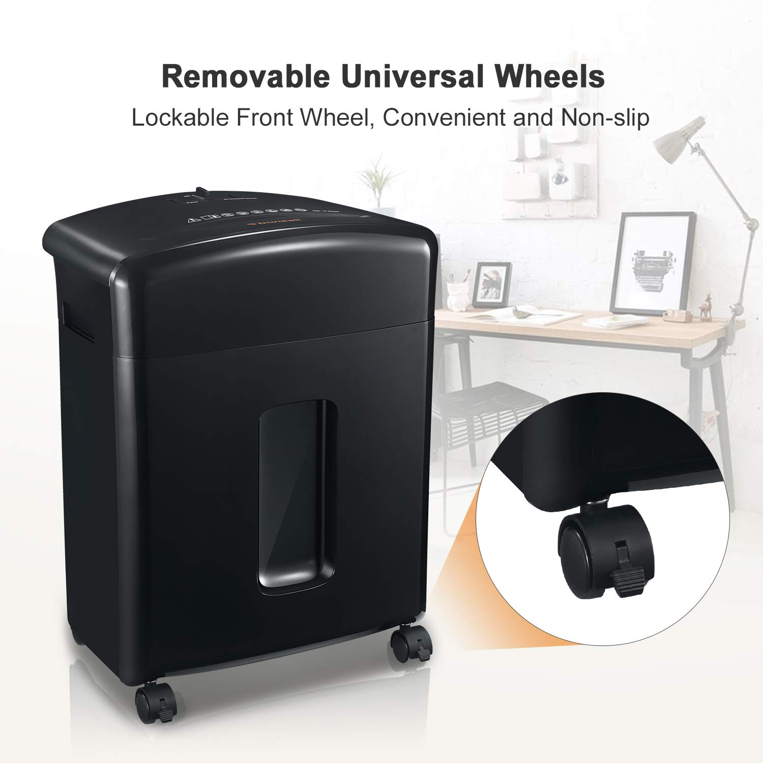 Bonsaii 12-Sheet Cross-Cut Paper, CD/DVD, and Credit Card Shredder with 3.5-gallons Pullout Basket, Black (C220-A) by bonsaii (Image #5)