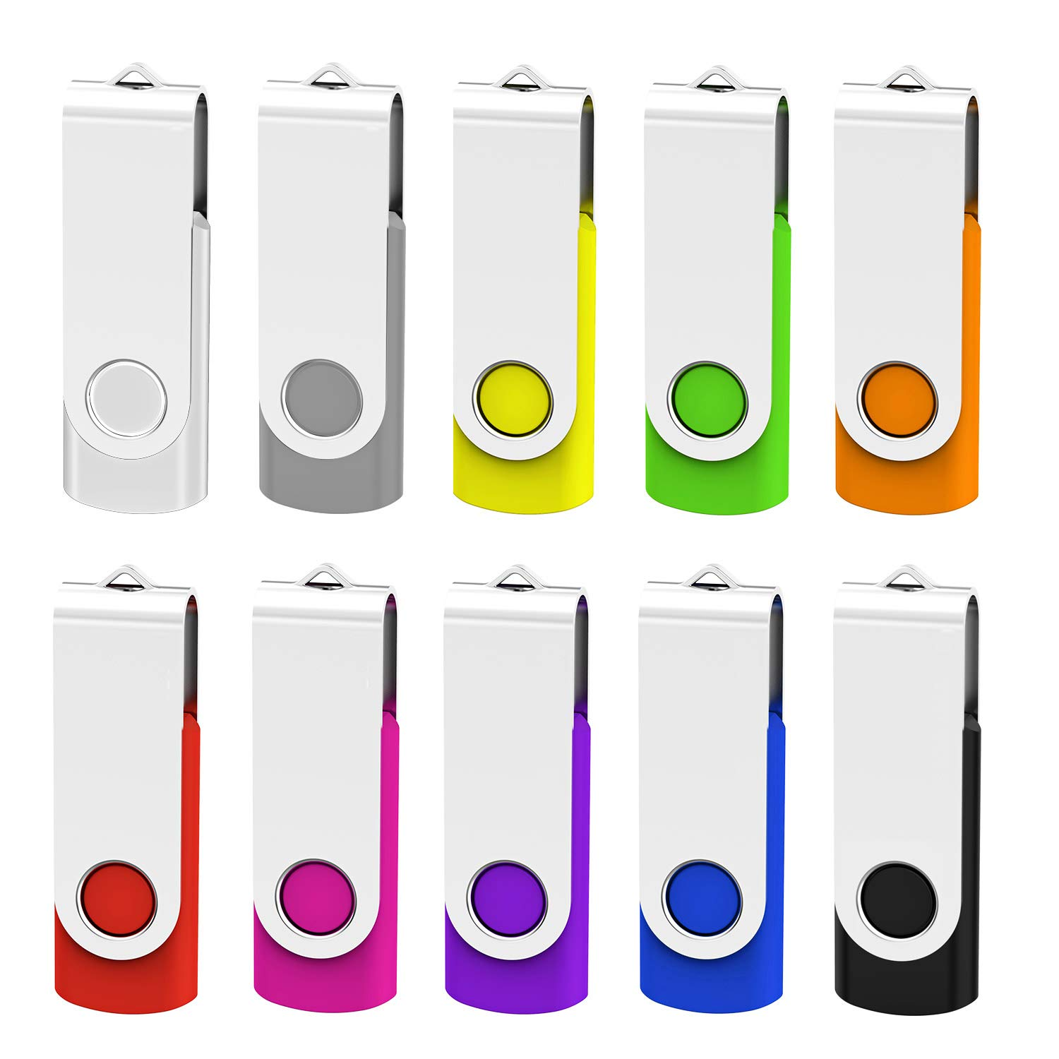 KEATHY 10 Pack 16GB USB Flash Drive USB 2.0 Swivel Thumb Drive Memory Stick Jump Drive Pen Drive - 10 Mixed Color