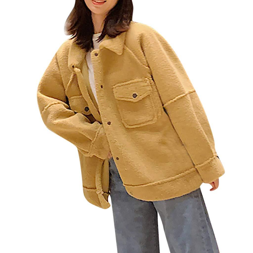 Fashionhe Women Outwear Long Sleeve Lamb Hair Lapel Warm Coat Plush Jacket Overcoat Winter Coat(Yellow.XXL) by Fashionhe