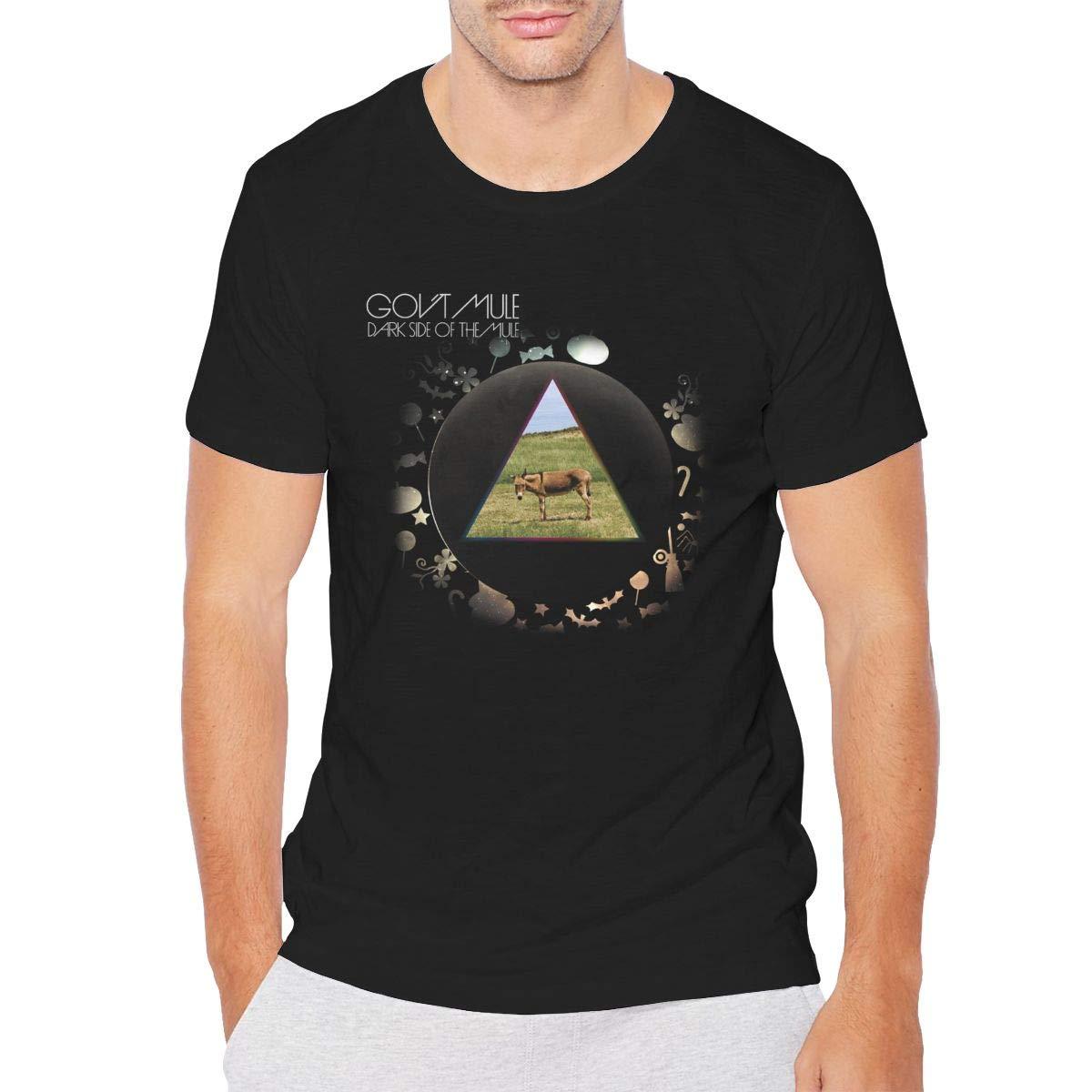 Mens Govt Mule Classic Breathable Short-Sleeve Crewneck Cotton T-Shirt Black