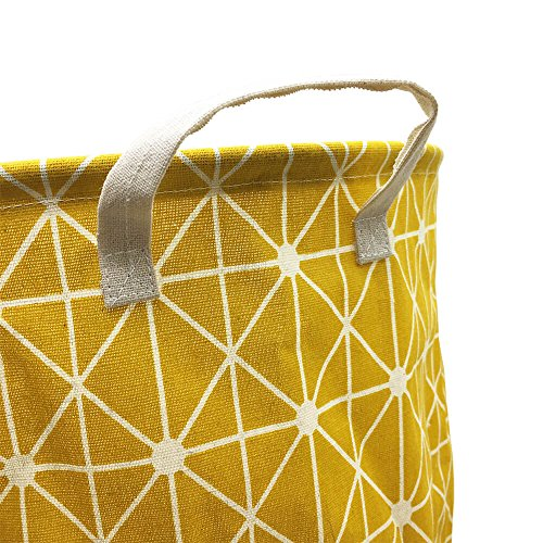Mziart Collapsible Laundry Basket Hamper Cotton Fabric Nursery Toy Storage Basket for Bedroom Nursery Dorm Closet (Yellow Lattice) by Mziart (Image #2)