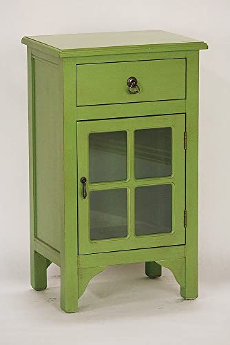Heather Ann Creations Single Door Drawer Wooden Cabinet with 4 Square Glass Inserts, 30 x 18 , Lime Green