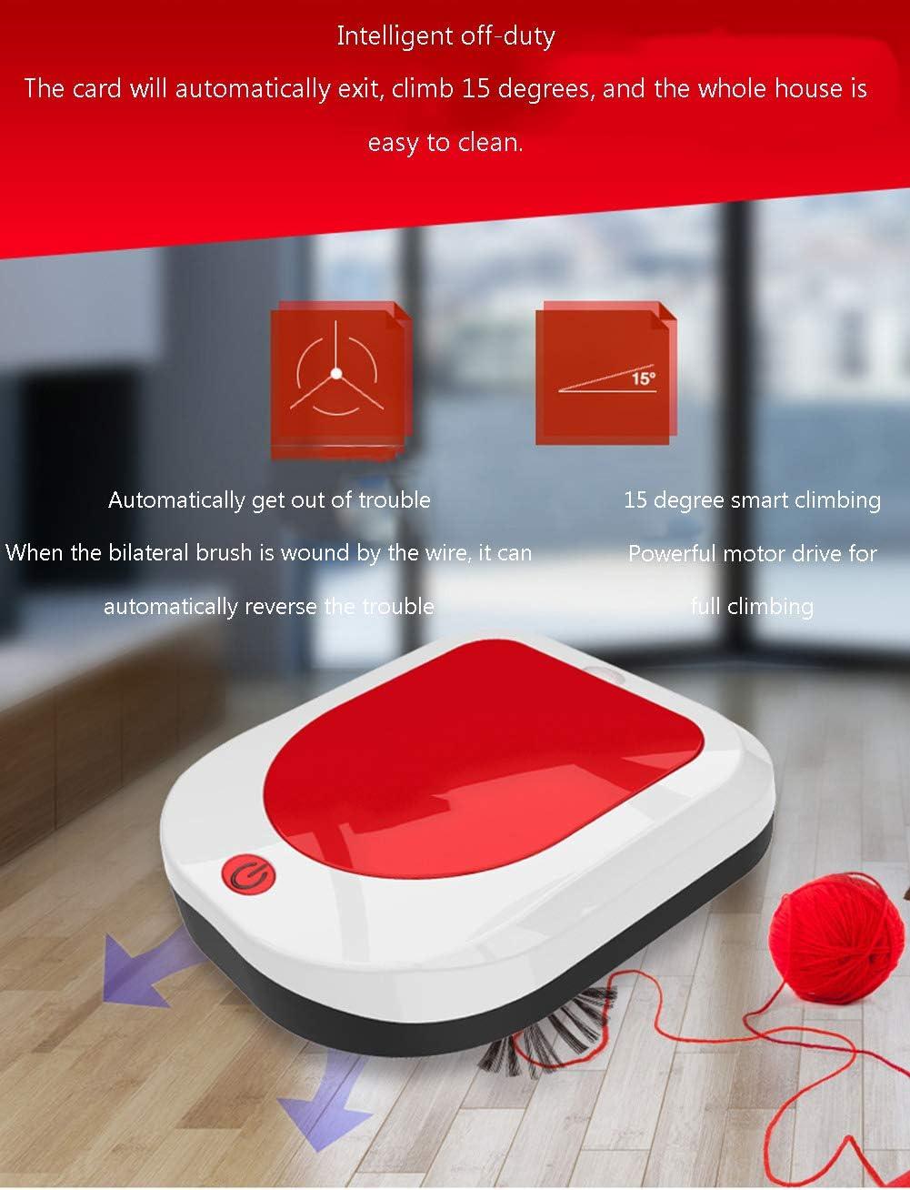 XFZ-YFT Robot aspirateur Intelligent, Chargement à Domicile de la capacité de la boîte à poussière 450ML pour Les sols à Surface Dure et Les Tapis Minces,Red Black