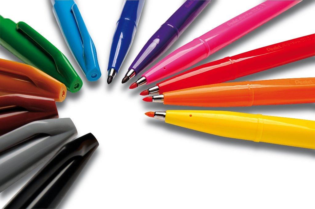Pentel Felt Tip Sign Pen Set of 12  Assorted Colors S520-12