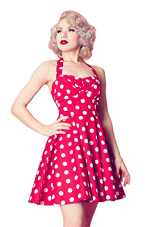 b84958ec8 SharpSpirit 1950s Vintage Style Red   White Polka Dot Print Halter Swing  Women Dress (Medium