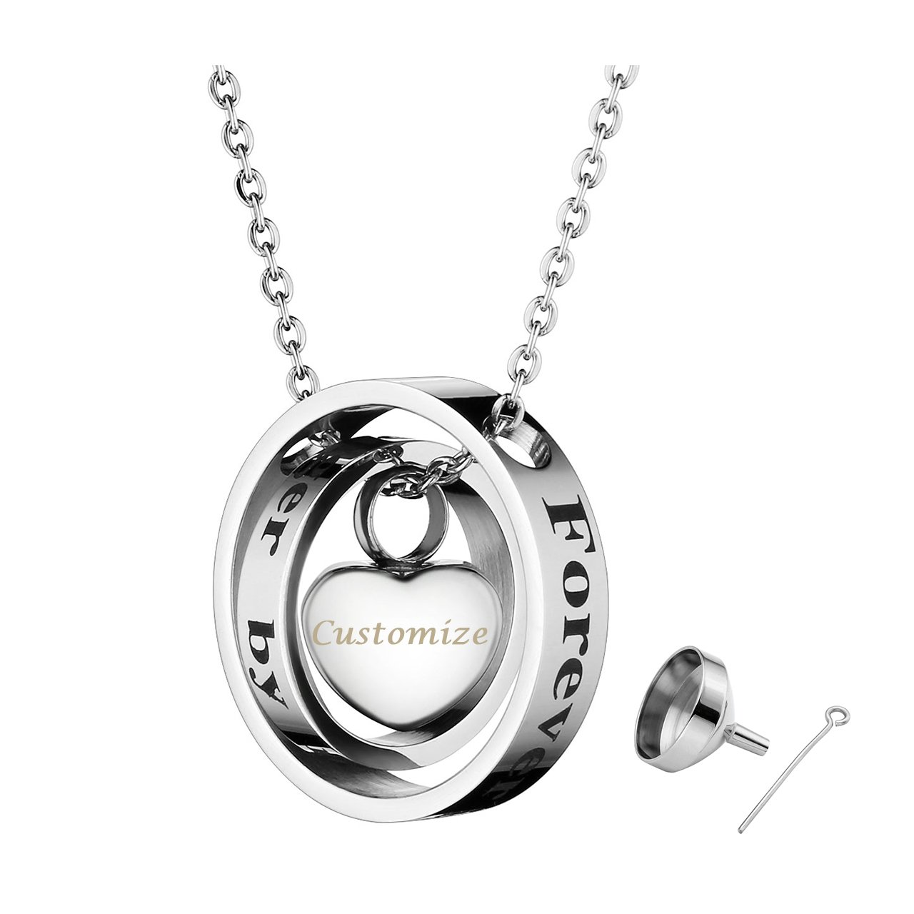 PiercingJ Personalized Custom Engraved Name Necklace Heart Shape Love Memorial Urn Pendant Ash Cremation Jewelry Holder Container Keepsake Necklace with Chain Funnel Fill Kit