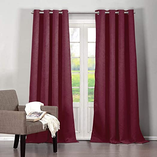 Duck River Textiles – Home Fashion Solid Faux Silk Textured Blackout Room Darkening Grommet Top Window Curtains Pair Panel Drapes for Bedroom, Living Room – Set of 2 Panels – 38 X 84 Inch – Wine