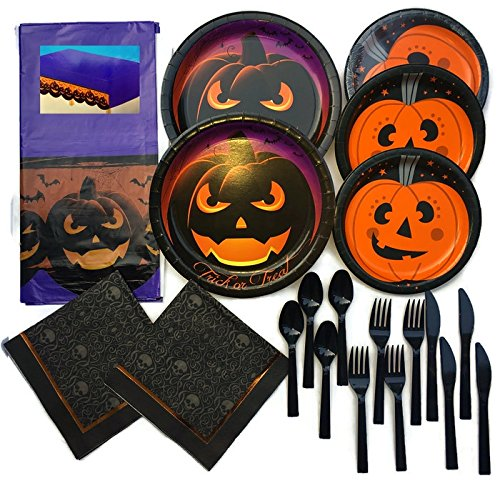 Halloween haunted Day of the dead fall Party Supplies Kit Premium Sturdy Disposable Dinnerware Pumpkin Haunts Snack & Party Plates, Cutlery, Table cover, skull Napkins Bundle Serves 16 (99 Pieces)
