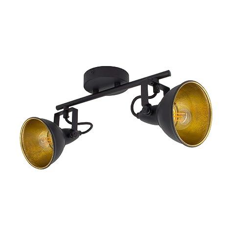 Lámpara de Techo Orientable Emer 2 Focos Negro Negro ...