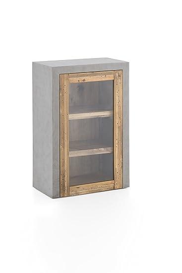 Fesselnd Woodkings® Hängeschrank Burnham Echtholz Pinie Natur Rustikal Und MDF In  Betonoptik Grau Glasschrank Beton Optik