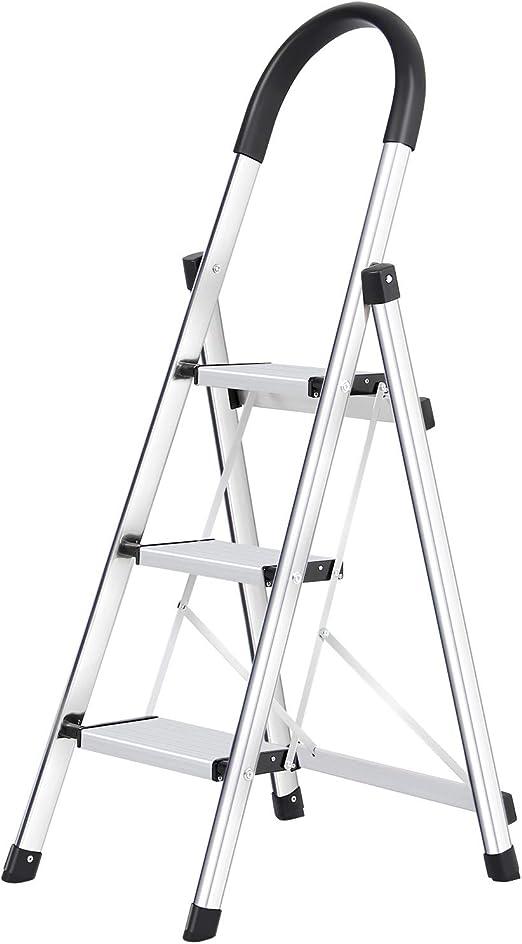 WolfWise Escaleras Plegables Aluminio de 3 Peldaños Portátil ...
