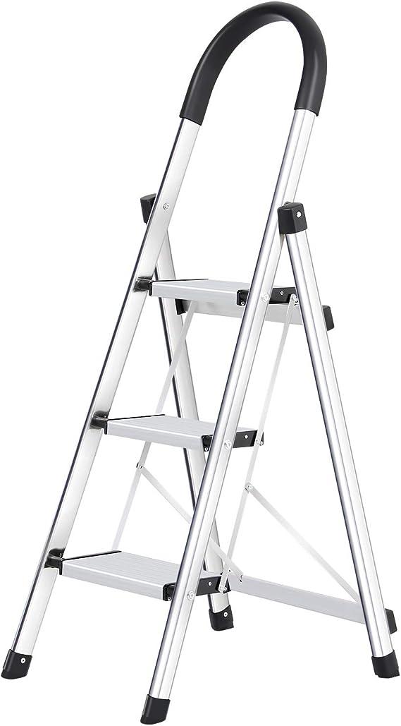 WolfWise Escaleras Plegables Aluminio de 3 Peldaños Portátil Antideslizante con Empuñadura de Goma Capacidad de 330 libras, Escaleras de Plata para el Hogar: Amazon.es: Bricolaje y herramientas