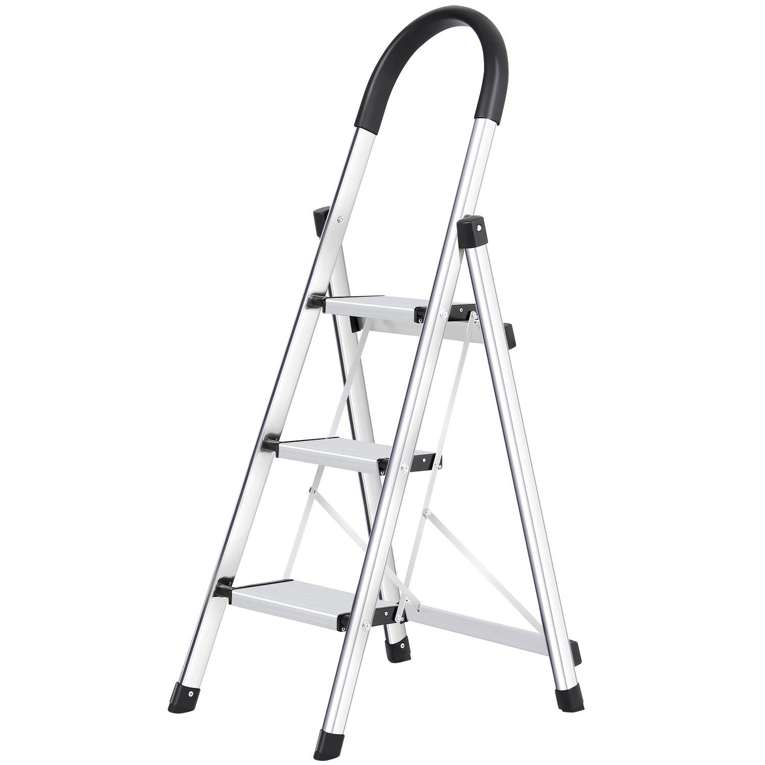 Lionladder 3 Step Ladder Folding Step Stool with Rubber Hand Grip 330lbs Capacity, Portable