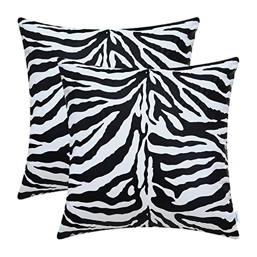 CaliTime Pack of 2 Cozy Throw Pillow Covers Cases Couch Bed Sofa Super Soft Faux Suede Both Sides 18 X 18 Inches White & Black Zebra
