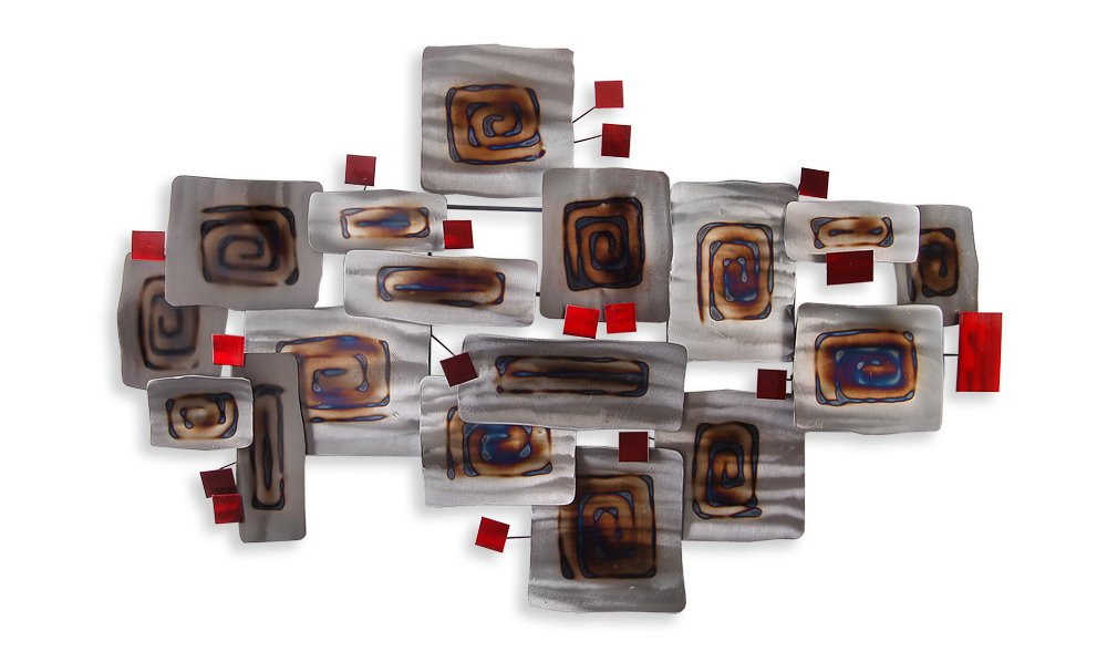 World Art TW60197 Metal Painting Abstract Composition 71x111x6 cm Size: 28 x 44 x 3 Inch