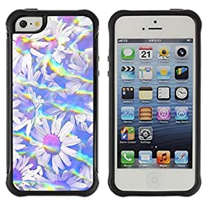 All-Round Hybrid Rubber Case Hard Cover Protective Accessory Compatible with Apple iPhone 5 & 5S - rainbow summer sun field flowers