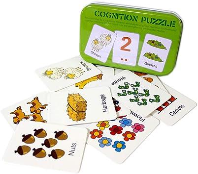 Gobus 30pcs Tarjetas de Memoria Tarjetas de Rompecabezas de cognición Palabras de la Historia Forma Rompecabezas a Juego Tarjeta de educación temprana Juguetes en una Caja (Números y Animales): Amazon.es: Juguetes y