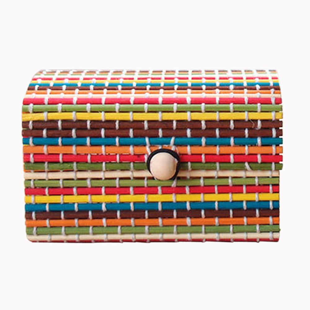 Tuscom Bamboo Curtain Sundries Box Jewelry Box Storage Box,for Earrings,Rings,Beads Pills Jewelry Storage (Yellow)