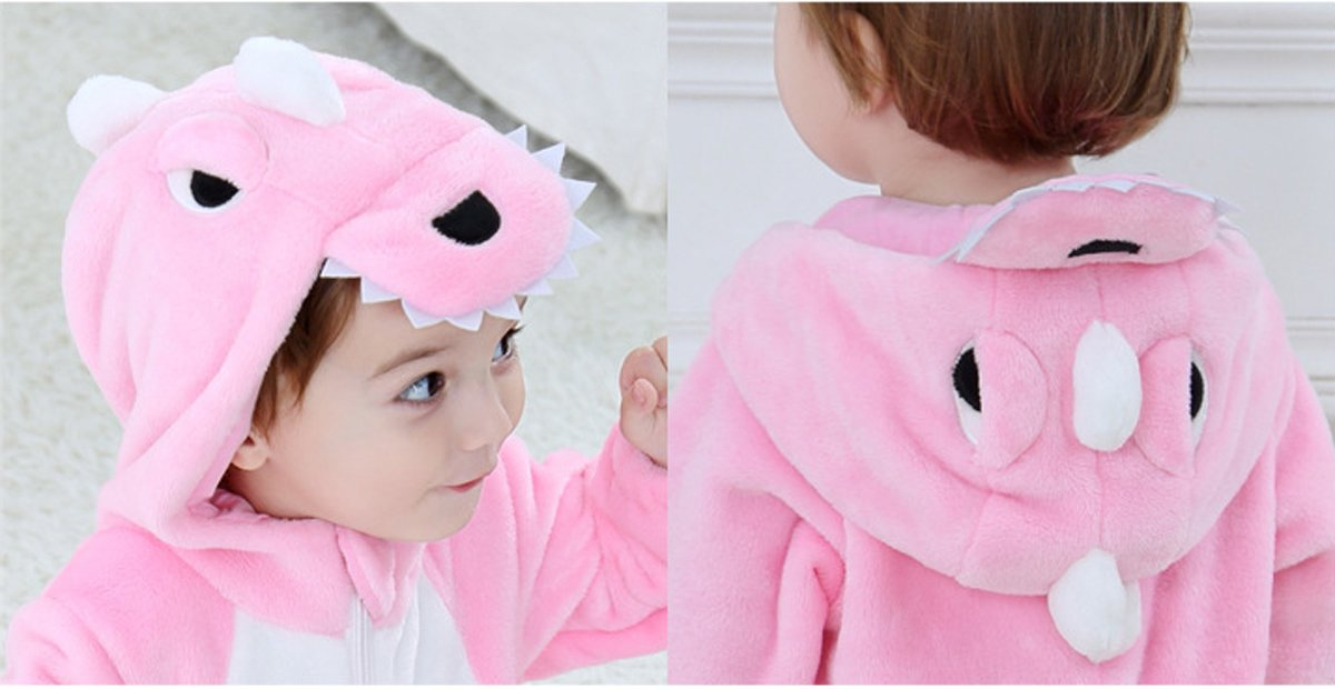 Tonwhar Toddler Infant Tiger Dinosaur Animal Fancy Dress Costume (70(Height:22''-26''/Ages 0-6 Months), Pink) by Tonwhar (Image #3)