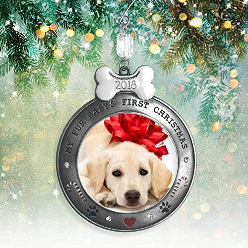 Puppy Dog Ornament - Puppy's First Christmas - 2018 Dated Picture Ornament for Your Fur Baby - Paw Prints, Hearts, Dog Bone and Candy Cane Design