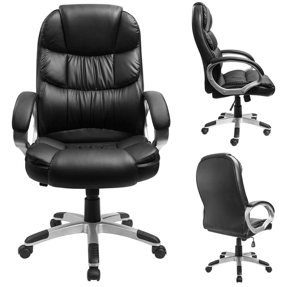 Furmax High Back Office Chair PU Leather Executive Desk Chair with Padded Armrests,Adjustable Ergonomic Swivel Task Chair with Lumbar Support(Black) by Furmax (Image #2)