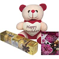 Saugat Traders Birthday Gift for Girlfriend or Wife - Happy Birthday Teddy with Small Greeting Card & Ferrero Rocher Pack 4