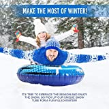 MOVTOTOP Snow Tubes, 47 Inch Inflatable Snow Sleds, Durable Snow Tubes for Sledding with Handles, Heavy Duty Inflatable Snow Tube Made by Thickening Material of 0.6mm