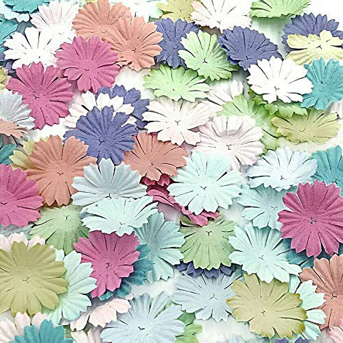 NAVA CHIANGMAI 100 pcs Daisy Mulberry Paper Flower Petals Artificial Craft Scrapbooking Embellishment,Wedding Supply Accessory DIY,Assorted Color Petal Flower (Sweet Color)